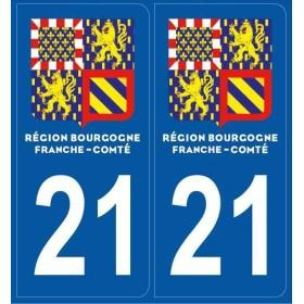 Autocollants immatriculation Cote d' Or 21