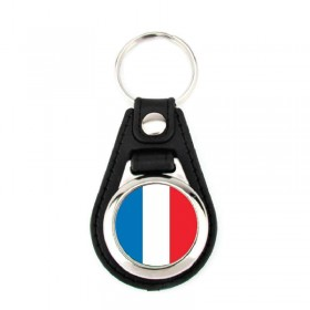 Porte-clé simili cuir drapeau France