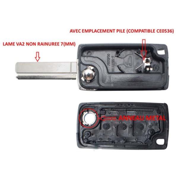 Boitier de clé plip 207, 307, 308, 407, RCZ, Expert