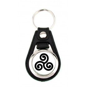 Porte-clé simili cuir Triskel Noir