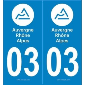 Autocollants immatriculation Allier 03