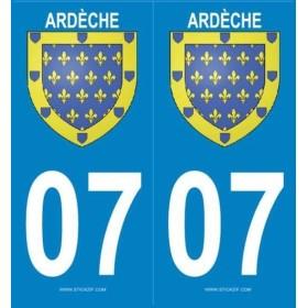 Autocollants plaque blason Ardèche
