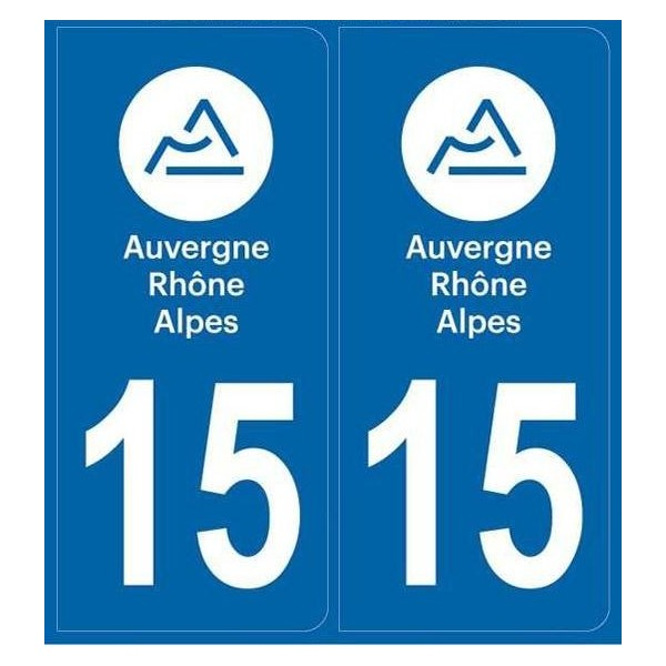 Autocollants immatriculation Cantal Dept 15