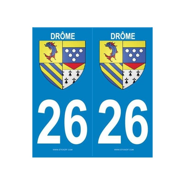 Autocollants immatriculation Drôme 26