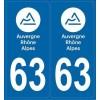 2 stickers plaque Auto Puy de Dôme