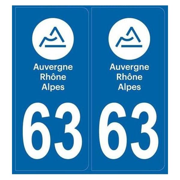 Autocollants immatriculation Puy de Dôme
