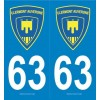 2 stickers city 63 Clermont Auvergne