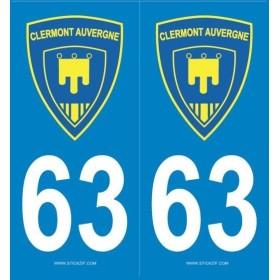 Autocollants immatriculation 63 Clermont