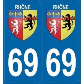Autocollants immatriculation Blason Rhône