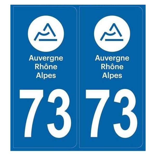 73 Savoie Departement Immatriculation 2 X Autocollants Sticker Autos Automobilia