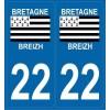 Stickers autocollant département 22