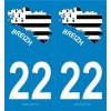 2 Stickers Blason carte Bretagne