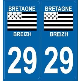 2 autocollants plaque département 29