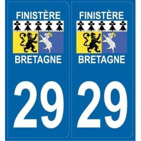 Autocollants immatriculation Blason Finistère