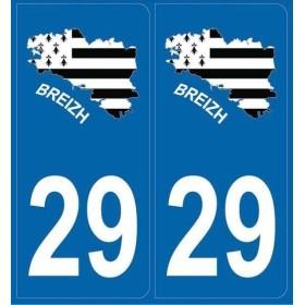 2 Stickers Finistère carte Bretagne
