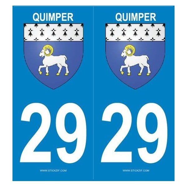 2 Stickers Plaque Blason Quimper