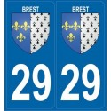2 Stickers Plaque Blason Brest