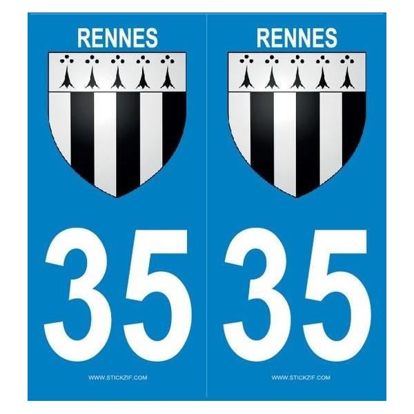 Autocollants immatriculation 35 Rennes