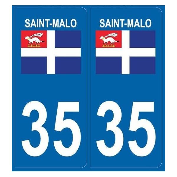 2 stickers city 35 Saint-Malo