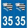 Autocollants immatriculation carte Bretagne