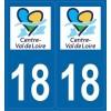 2 stickers régions département 18