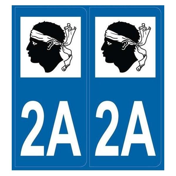 Autocollants immatriculation Dept. 2A