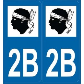 Autocollants immatriculation Corse 2B