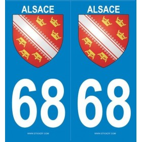 Stickers immatriculation (68) Alsace