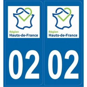 Autocollants immatriculation Aisne 02
