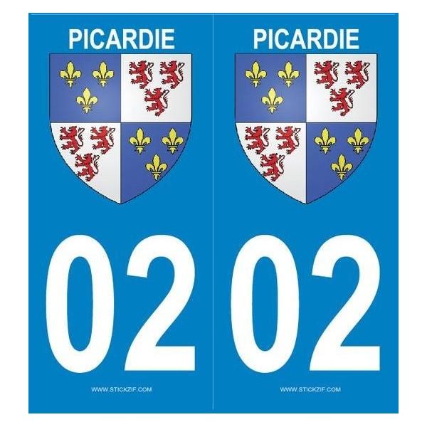 Autocollants immatriculation Blason Picardie