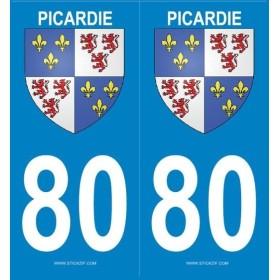 Stickers immatriculation Blason Picardie