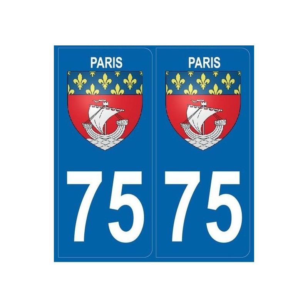 Autocollants immatriculation Blason 75 Paris