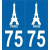 2 stickers city 75 Paris - Tour Eiffel