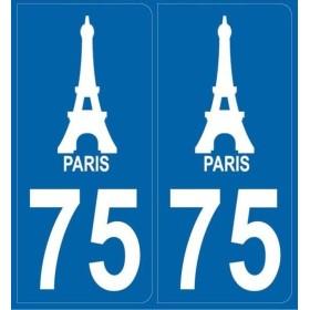 2 stickers city 75 Paris - Tour Eiffel