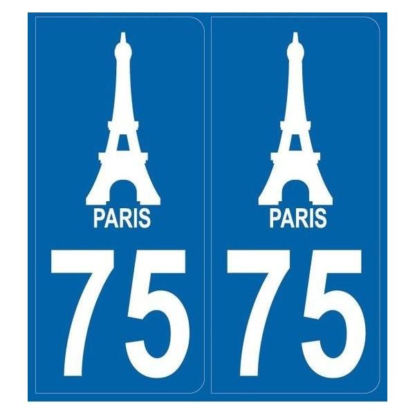 Autocollants immatriculation 75 - Tour Eiffel