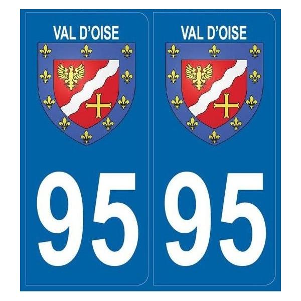 2 Stickers Blason 95 Val d'Oise