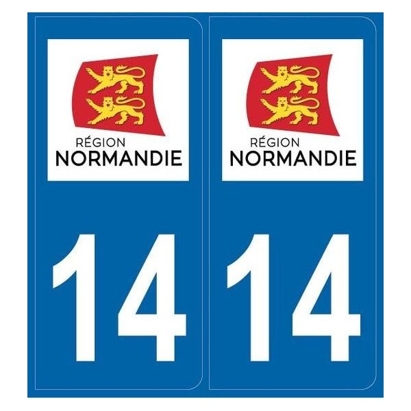 2 stickers régions département 14