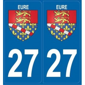 2 Stickers Blason 27 Eure