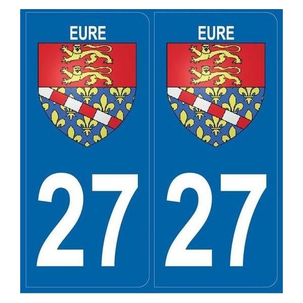 2 Stickers Blason 27 Eure