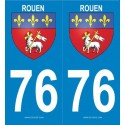 2 stickers ville 76 Rouen