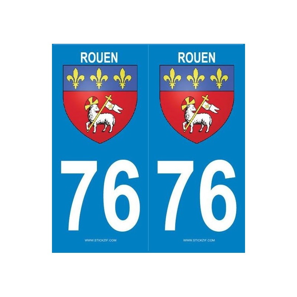2 stickers ville 76 Rouen