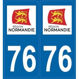 Stickers plaque auto Departement 76