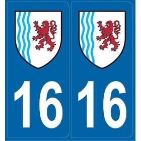 2 stickers régions département 16