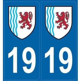 Stickers immatriculation département 19