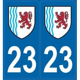Autocollants immatriculation département 23