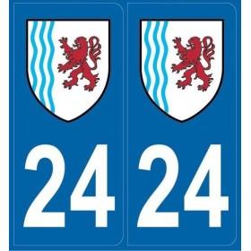 Autocollants immatriculation Dordogne 24