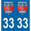2 stickers city 33 Bordeaux