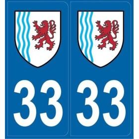 Autocollants immatriculation Gironde (33)