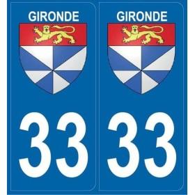 Autocollants immatriculation Blason Gironde