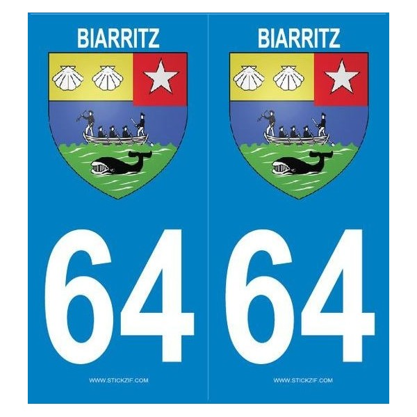 2 stickers city 64 Biarritz